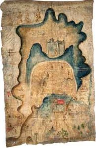 Mapa de Mixtepec is a pictorial manuscript with cartographic, genealogical, and historical elements painted with watercolors on animal hide. For more information, go to http://mapas.uoregon.edu. Photo courtesy  of WHP.